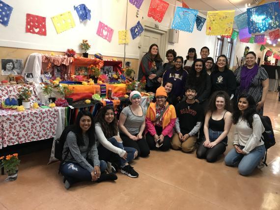 Students in GWSS 451 create Dia de los Metros Altar/Exhibit