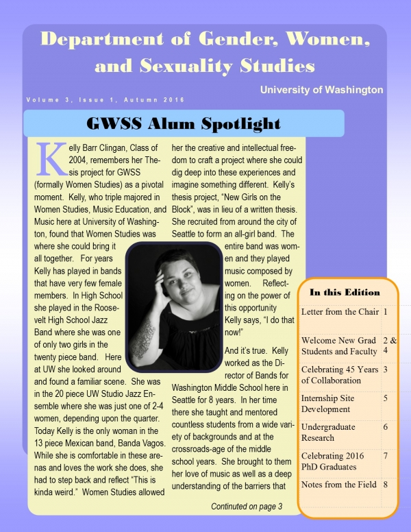 Image of first page of GWSS Newsletter
