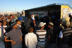 Abantu performing at the NU2 Bus Shelter