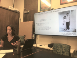 "Michelle Morado-Peters presenting ""Before Their Time: tracing moments before the emergence of La Pachuca, 1910-1930"""