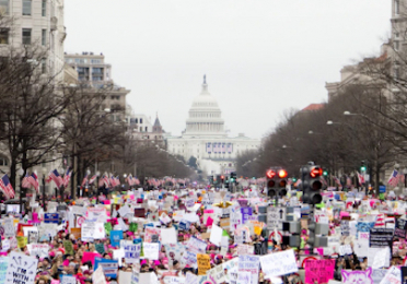 A march on the capitol in Washington, D.C.